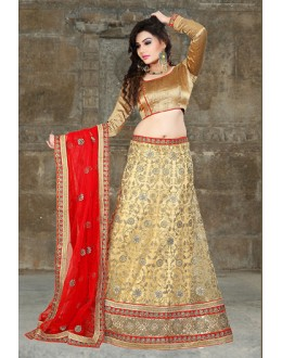 Festival Wear Beige & Red Lehenga Choli - 74499
