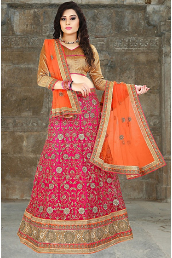 Traditional Pink & Orange Embroidered Lehenga Choli - 74500
