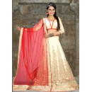 Designer Cream & Red Net Embroidered Lehenga Choli - 74505