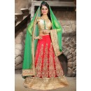 Wedding Wear Red & Green Net Lehenga Choli - 74506