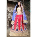 Designer Pink & Blue Net Embroidered Lehenga Choli - 74511