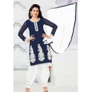 Ethnic Wear Navy Blue & White Georgette Patiyala Suit - 74543