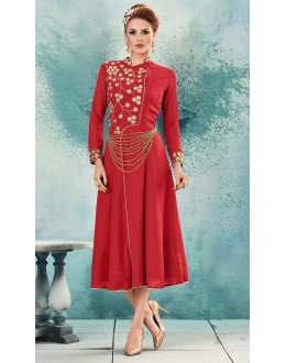 Ethnic Wear Readymade Red Georgette Kurti - 74572