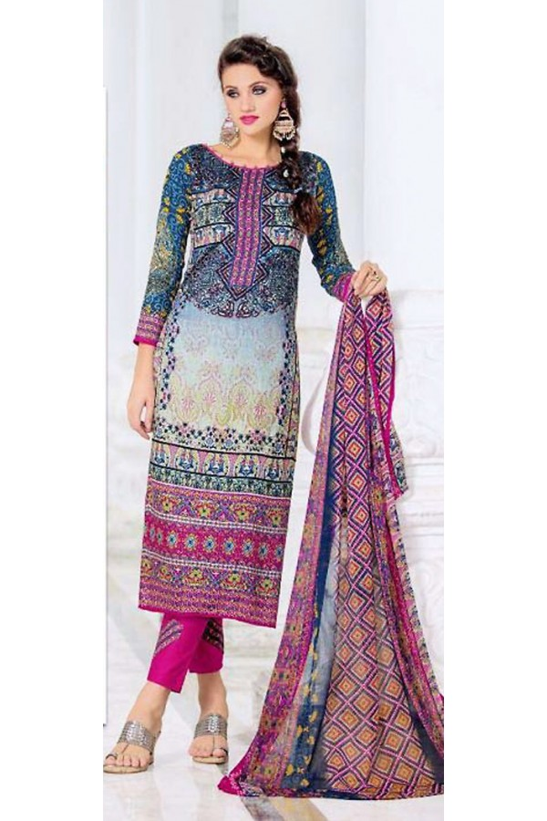 Casual Wear Multicolour Cotton Salwar Suit - 74580