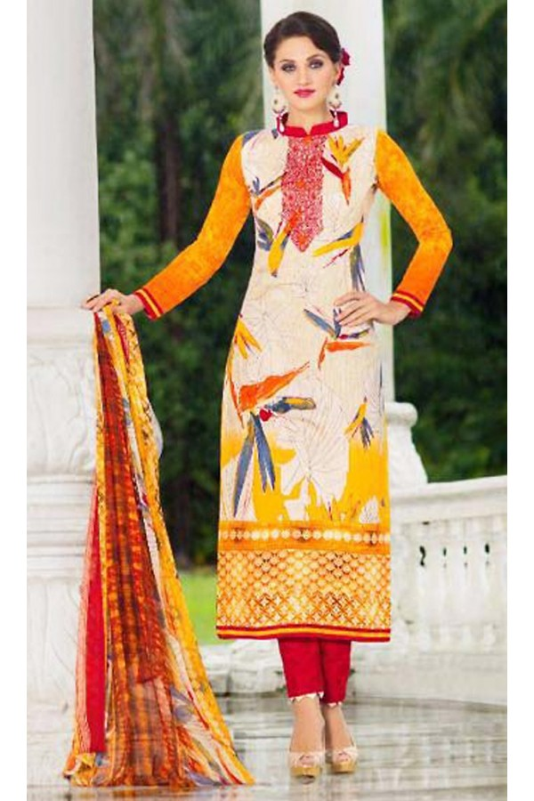 Ethnic Wear Multicolour Cotton Salwar Suit - 74581