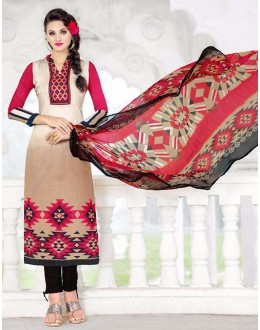 Ethnic Wear Brown & Red Cotton Salwar Suit - 74583