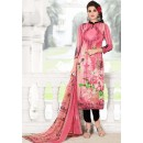 Office Wear Pink & Black Cotton Salwar Suit - 74589