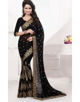 Ethnic Wear Black Georgette Saree  - 74533