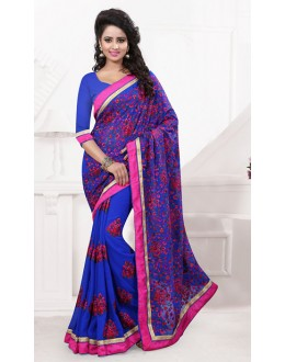 Festival Wear Blue Georgette Embroidered Saree  - 74535
