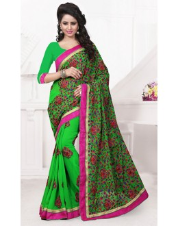 Ethnic Wear Green Georgette Embroidered Saree  - 74537