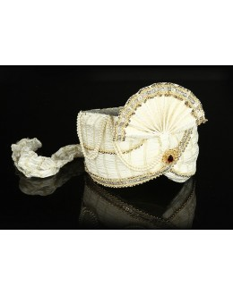 Ethnic Wear Off White Net Groom Turban - 74636