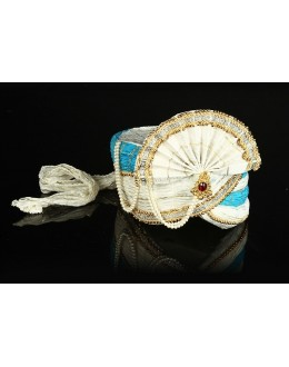 Traditional Off White & Sky Blue Net Groom Turban - 74637