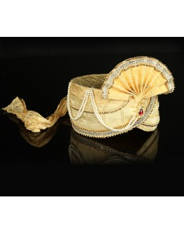 Wedding Wear Yellow Net Groom Turban - 74641