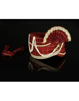 Wedding Wear Maroon Net Groom Turban - 74644