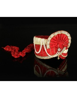 Wedding Wear Red Net Groom Turban - 74646