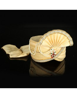 Wedding Wear Beige Raw Silk Groom Turban - 74649