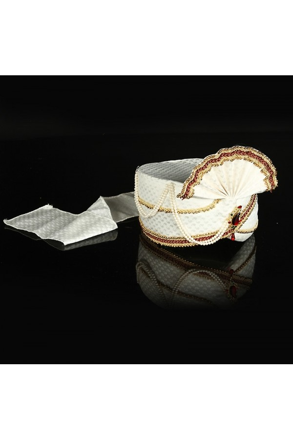Traditional White Raw Silk Groom Turban - 74653