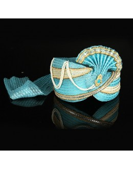 Traditional Sky Blue Net Groom Turban - 74659