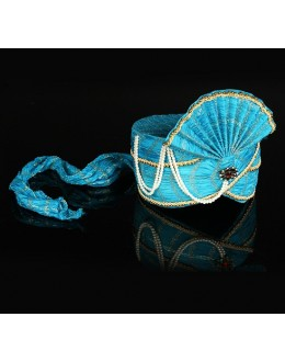 Designer Sky Blue Net Groom Turban - 74664
