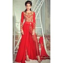 Ethnic Wear Red Georgette Slit Salwar Suit  - 74726