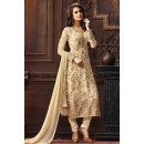 Party Wear Beige Jacquard Embroidered Salwar Suit  - 74747