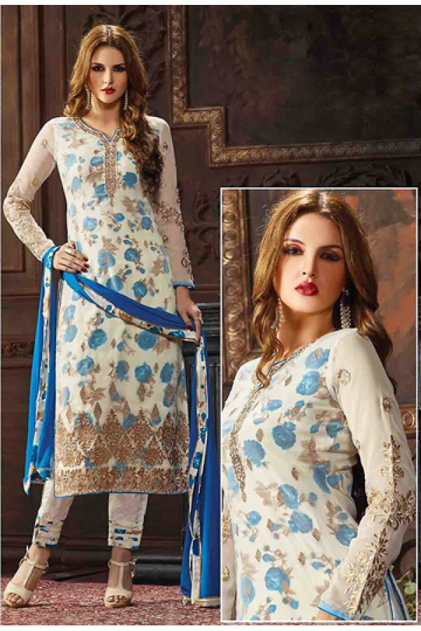 Festival Wear White & Blue Jacquard Salwar Suit  - 74749