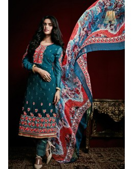 Party Wear Teal Blue Georgette Salwar Suit - 74754
