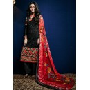Ethnic Wear Black & Red Georgette Salwar Suit - 74755