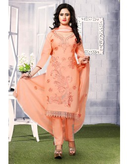 Ethnic Wear Orange Cotton Salwar Suit  - 74815