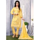 Office Wear Yellow Cotton Embroidered Salwar Suit  - 74816