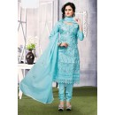 Ethnic Wear Sky Blue Cotton Salwar Suit  - 74818