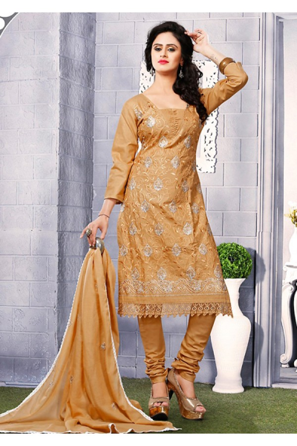 Office Wear Brown Cotton Embroidered Salwar Suit  - 74819