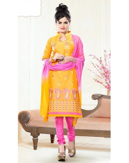Office Wear Yellow & Pink Cotton Churidar Suit  - 74823