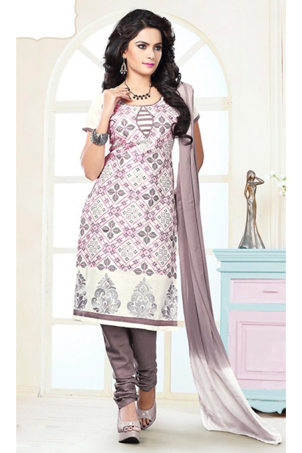 Office Wear White & Brown Cotton Churidar Suit  - 74824