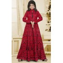 Party Wear Black & Red Silk Embroidery Anarkali Suit  - 74935