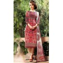 Ethnic Wear Red & Brown Georgette Salwar Suit  - 75026