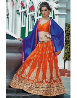 Ethnic Wear Orange & Blue Net Lehenga Choli - 75242