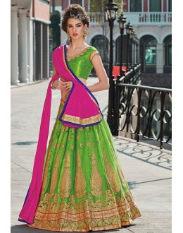 Traditional Green & Pink Net Lehenga Choli - 75243