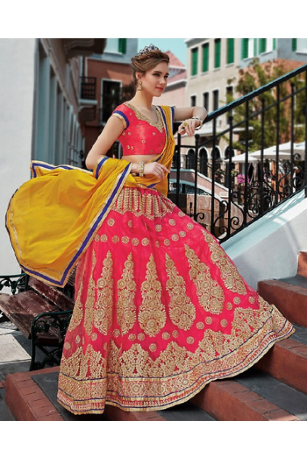 Wedding Wear Pink & Yellow Net Lehenga Choli - 75244
