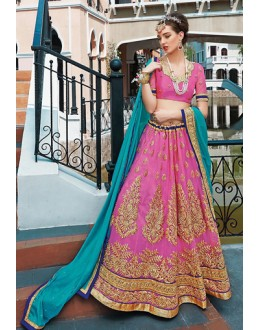 Designer Pink & Blue Embroidered Net Lehenga Choli - 75246