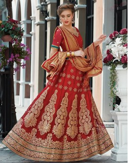 Wedding Wear Red & Brown Net Lehenga Choli - 75251