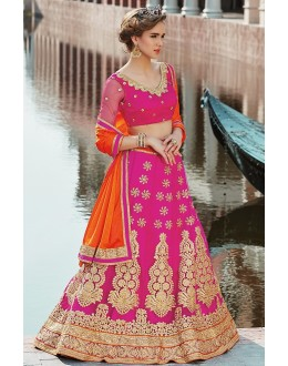 Bridal Wear Pink & Orange Net Lehenga Choli - 75252