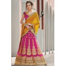 Designer Pink & Yellow Embroidered Net Lehenga Choli - 75259