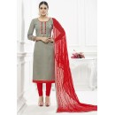 Office Wear Grey & Red Cotton Salwar Suit  - 75217