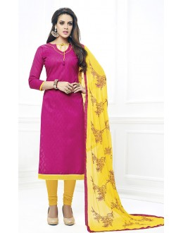 Office Wear Pink & Yellow Cotton Salwar Suit  - 75218
