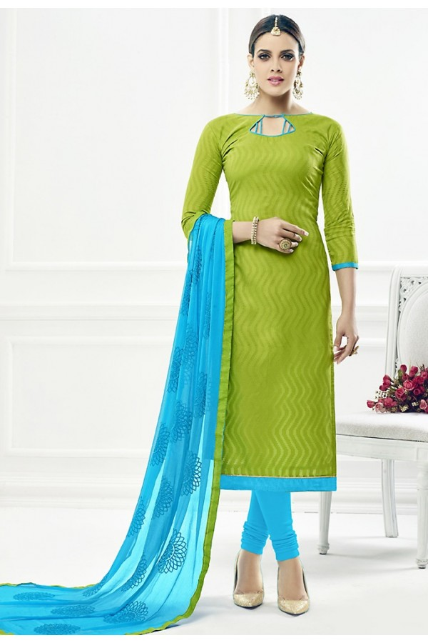 Ethnic Wear Green & Sky Blue Cotton Salwar Suit  - 75219