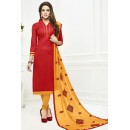 Festival Wear Red & Yellow Cotton Salwar Suit  - 75220