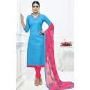 Ethnic Wear Sky Blue & Pink Cotton Salwar Suit  - 75221