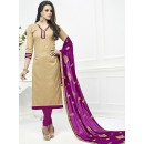 Festival Wear Beige & Fuchsia Cotton Salwar Suit  - 75222