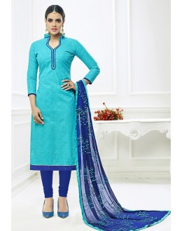 Ethnic Wear Blue Cotton Churidar Suit  - 75228